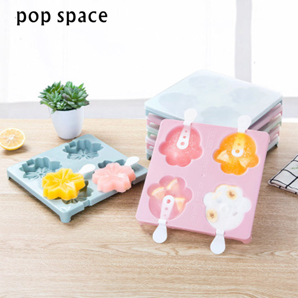 pop space Leaves Paw Shape Ice Cream Popsicle Molds Tubs 4 cells Reusable DIY Frozen Ice Cream Pop Baking Moulds 3 Colors