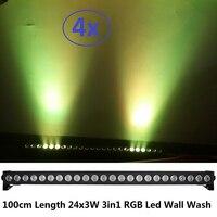 4 xlot novo 24x3 w rgb 3in1 dmx conduziu a luz da lavagem da parede luzes conduzidas da paisagem da arruela dmx512 inundação conduzida interna para baixo a iluminação para o clube do dj