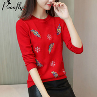 PEONFLY Sweater Women Embroidery Knitted Winter Women Sweater Pullover Female O Neck Knitted Sweater Women Long