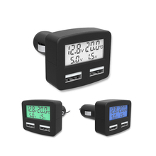 Alloet Dual USB 5 in 1 Car Phone Charger 3A DC 5V Car Phone USB Charger With LCD Display Temperature Voltage Current Meter