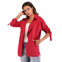 Large Size Womens Windbreaker 2019 Autumn New Coat Loose Femme Trench Double Pocket Cardigan for Women
