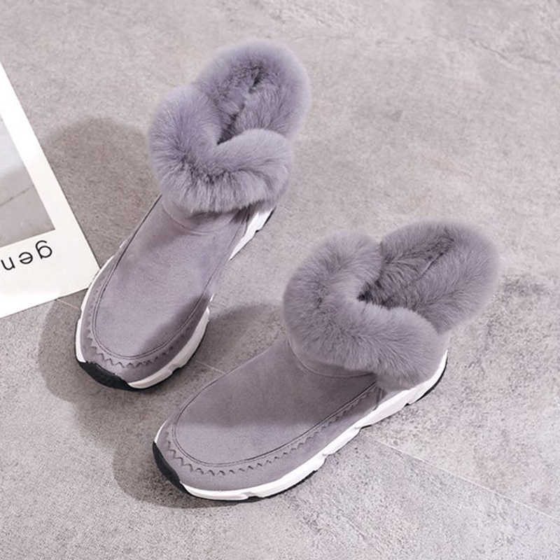 Kadın yarım çizmeler 2019 moda yüksekliği artan sıcak kış ayakkabı akın kadın kar botları platformu kadın çizmeler botas de mujer
