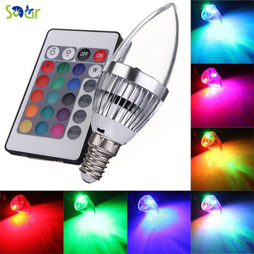 3W RGB LED Light Bulb E14 16 Color Changing Light Candle Bulb Spotlight Lamp Lighting Fixture With Remote Control 85-265V