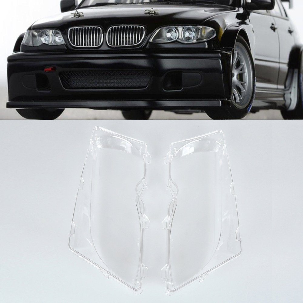2x Car Front Headlight Clear Lens Cover Durable Automobile Headlamp Len Kit Polycarbonate Cover Left and Right For BMW E46 01-06 headlamp polishing paste kit diy headlight restoration car plastic restore car head light motor cleaner renew lens polish kit