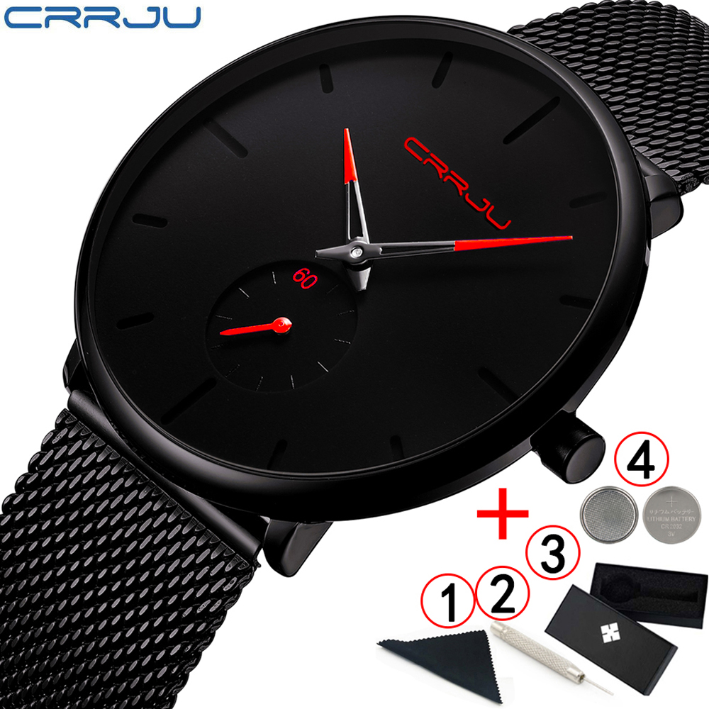 Man Watch 2019 Crrju Fashion Slim Black Men's Watches Stainless Steel Classic Men Watches Top Brand Luxury relogio masculino