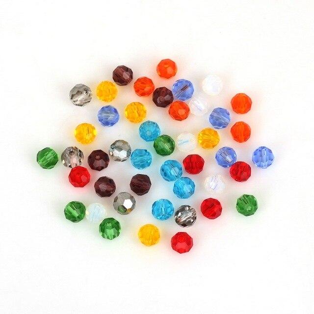 Perles rondes 6mm verre à Facettes couleur Crystal Ab LOT de 50 ou 100