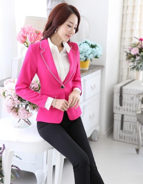 Novidade rosa Formal de Design de moda 2015 outono inverno ternos casacos e calças profissional calças conjuntos