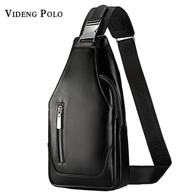 89d98e7daa5b VIDENG POLO Men Bag Brand Leather Chest Bag Casual Crossbody Shoulder Bag  Business Messenger Bag High