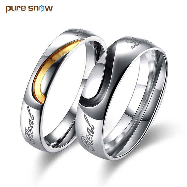 Unique love jewelry stainless steel couple lovers rings love heart unique love jewelry stainless steel couple lovers rings love heart wedding rings engagement rings birthday present junglespirit Image collections