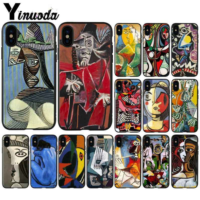 Yinuoda パブロ · ピカソの抽象芸術の絵画の黒携帯電話ケース用 8 7 6 6S プラス X XS 最大 5 5S 、 SE XR カバー