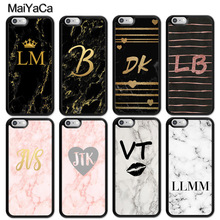 MaiYaCa PERSONALISED GOLD HEART MARBLE CUSTOM INITIALS NAME Case For iphone 11 Pro MAX X XR XS 6 6S 7 8 Plus 5 5S TPU Cover