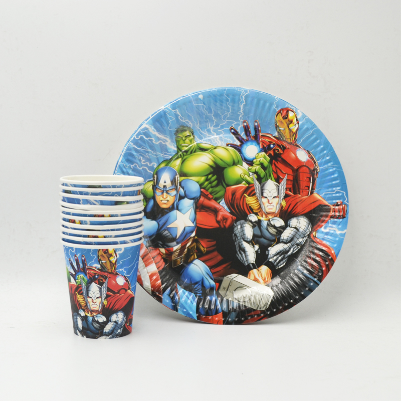 50pcs set Avenger Theme Party Supplies Tableware Plate Cup Napkin straw Birtday Party For Kids Shower Favor Party Decoration in Disposable Party Tableware from Home Garden