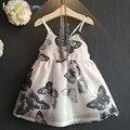 0-7años/Summer Fashion Kids Chica Beach Vestidos de Diseño de La Mariposa de Encaje Party Queen Niños Vestido de Princesa Ropa Infantil BC1197