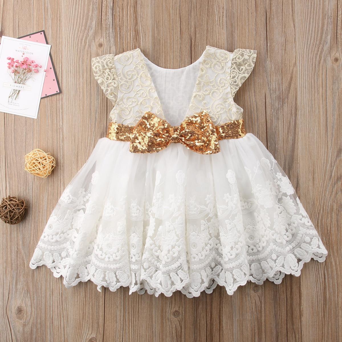 2-7y 2018 Marke Neue Pailletten Mädchen Kleider Gold Beige Partei Pageant Kommunion Kleid Kleine Mädchen Kinder/kinder Kleid Für Hochzeit Einfach Zu Reparieren