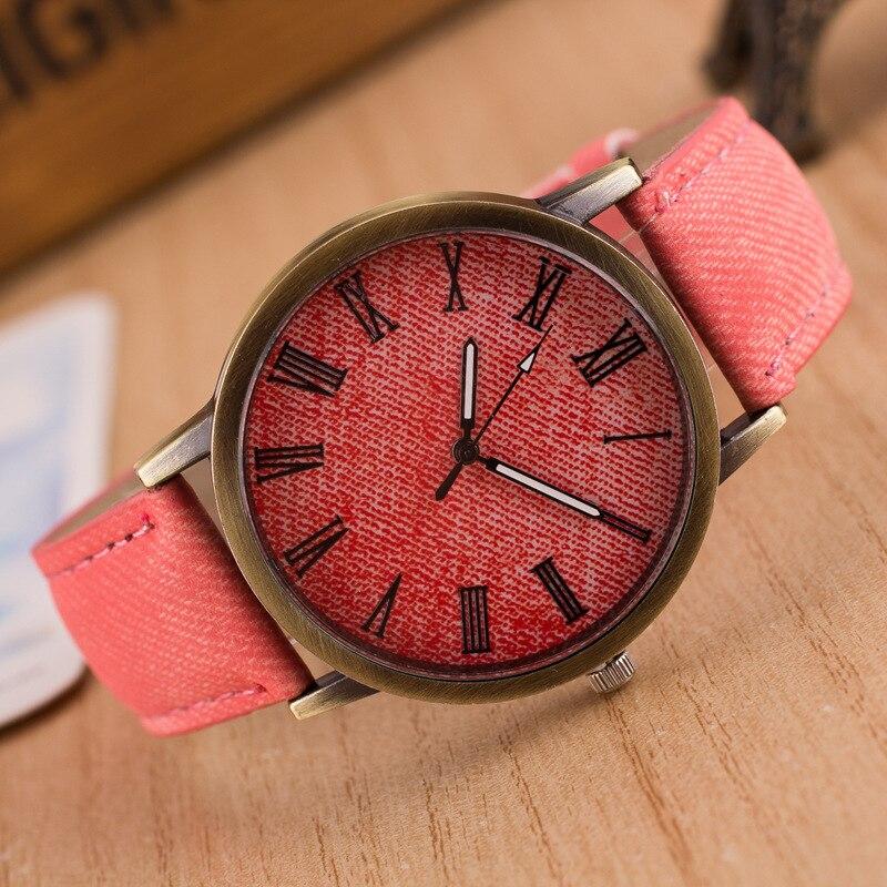 Mujeres Hombres unisex moda vintage casual correa del reloj dial reloj de  cuarzo analógico para adultos Denim imitación cuero reloj e43664f73ab4