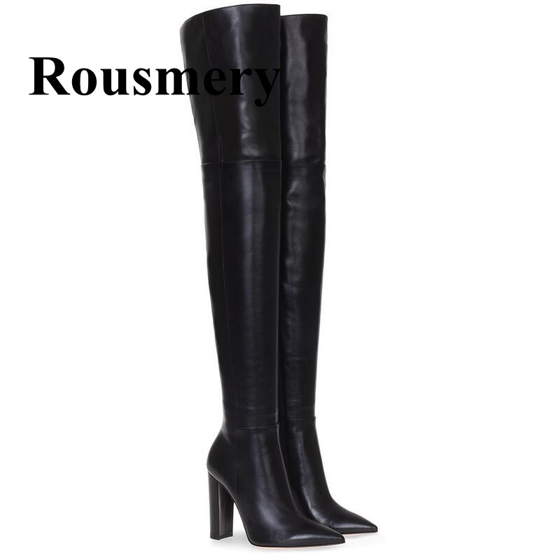 Winter Newest Hottest Over The Knee Sexy Pointed Toe And Square Heel Side Zipper Solid Two Color Long Shoes Women Boots