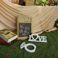 背景家具記事木製黒板バレンタインデーの結婚式写真の小道具黒板ウェディングcaketable装飾