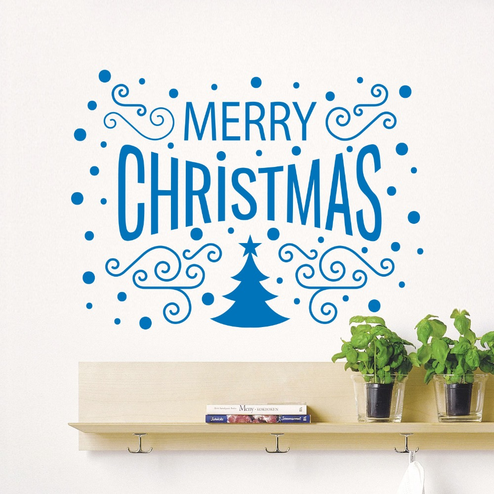 Home Decor Market Us 8 98 25 Off Merry Christmas Decor Tree Removable Windows Vinyl Wall Decal Home Decor Cafe Store Shop Market Window Stickers Home Decor Mural In