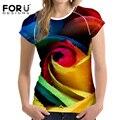 FORUDESIGNS футболка Женщины 3D Красоты Цветок Шаблон Майка для дамы Лето С Коротким Рукавом Повседневная Топы Футболки Плюс Размер S-XXL
