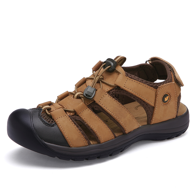 Toe Protect Men Sandals Natural Leather Soft Sole Casual Shoes  comfortable Outdoor Beach Sandals Plus Size 38-46