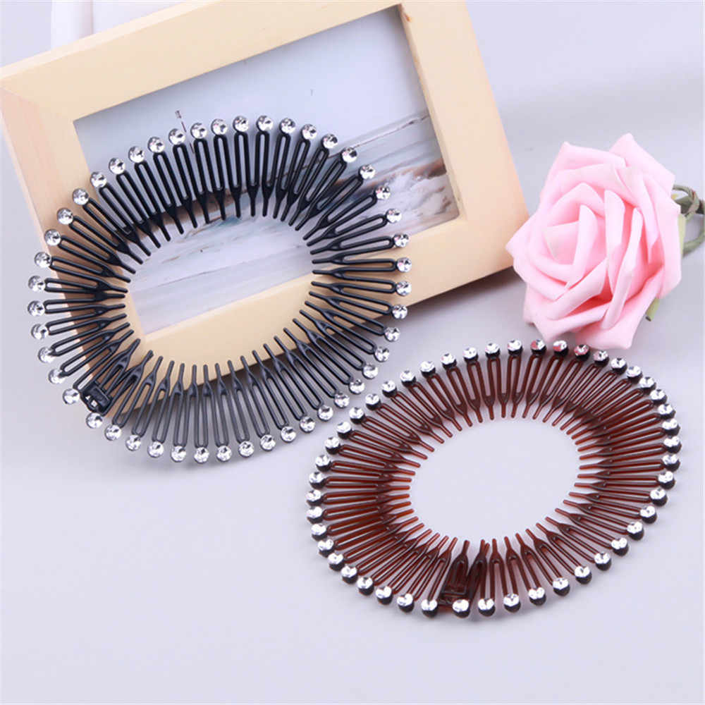 New Hot 1PC Plastic Full Circle Stretch Diamond Flexible Comb Teeth Headband Hair Band Clip Face Wash Fixed Hair Styling Tools