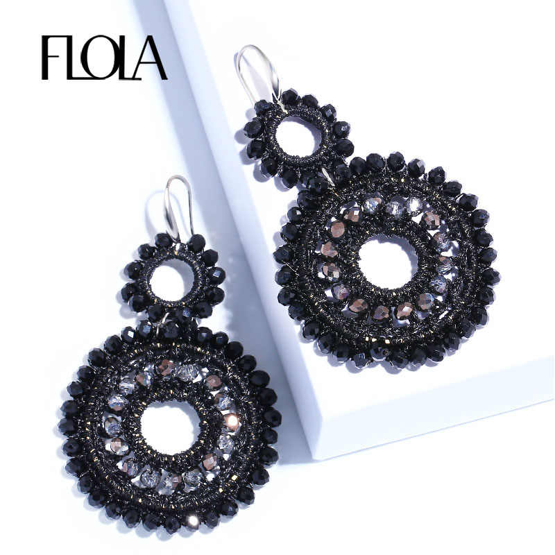 FLOLA 2019 Bohemia Crystal Beads Woven Earrings Woman Handmade Black Beads Big Earrings Ethnic Oorbellen Big Drop Earring ersm93