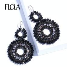 Woven-Earrings Beads Crystal Ethnic Handmade Black Bohemia Woman Big Ersm93 FLOLA Oorbellen