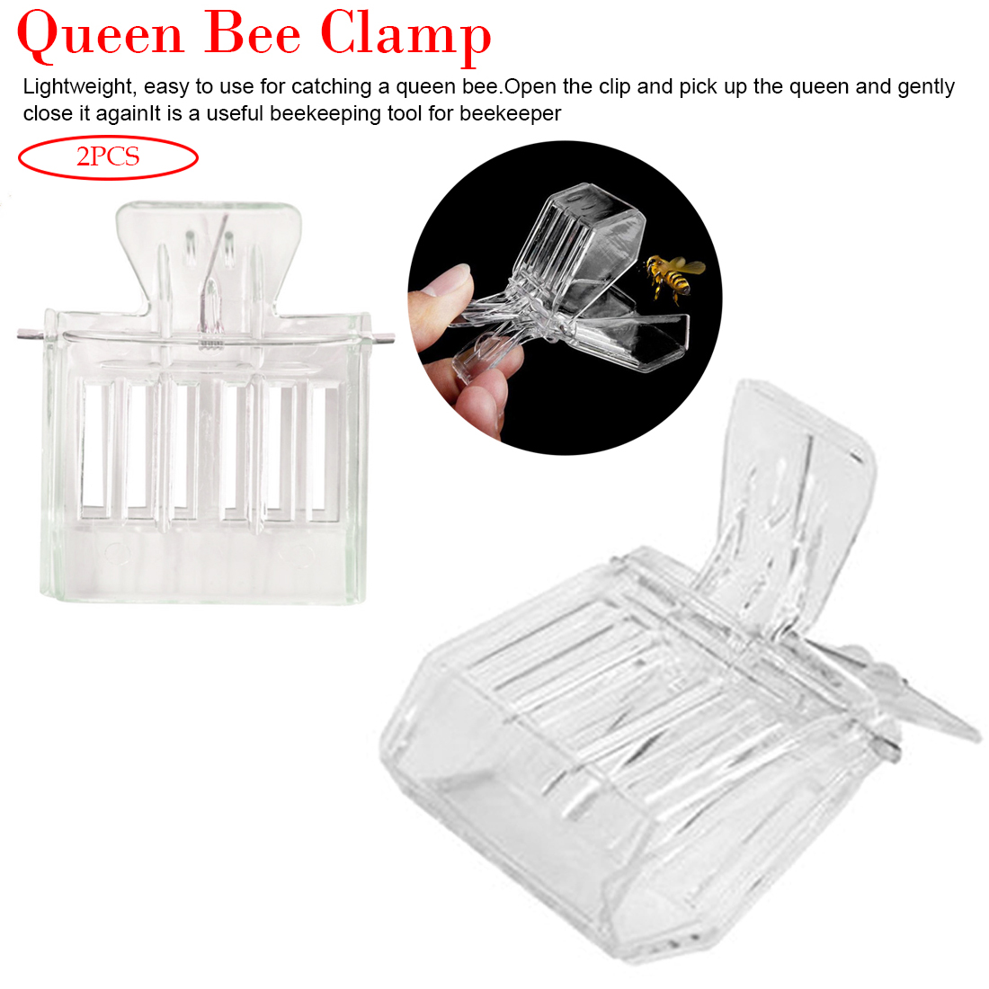 2pcs Queen Bee Catcher Cage Beekeeping Tools Isolation Room Beekeeping Clip  Colorless Plastic Bee Clip Beekeeper Tool