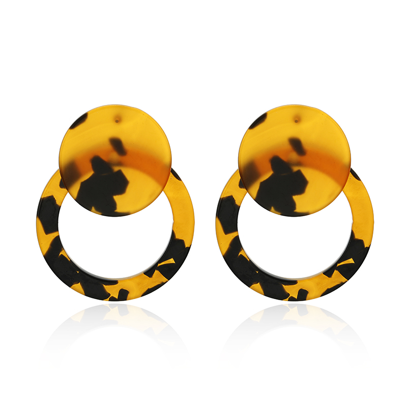 Acrylic Acetate Earrings 2019 Women Earring Bohemian Big leopard Pendant Statement Fashion Circular luxury Jewelry Accessories in Drop Earrings from Jewelry Accessories