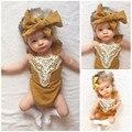 Mais novo Bebê Meninas Macacão Amarelo Bonito Patchwork Rendas Macacão Da Criança Infantil Do Bebé Outfits Bandage Backless Lace Up Sunsuit