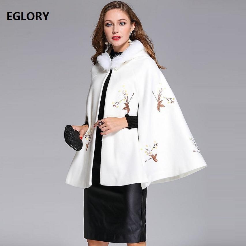 2017 Winter Cape Poncho Women Coats Hoodies Luxury Embroidery High Quality Black White Woolen Loose Cloak Coats Jackets XXL