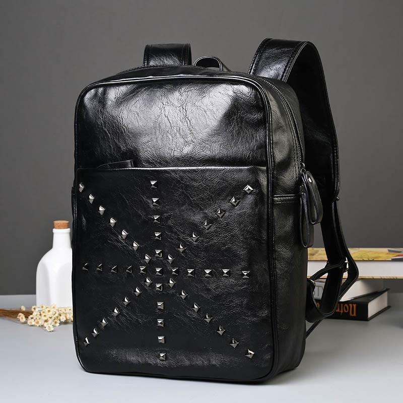 멋지다! 블랙 가죽 백팩 Schoolbag 패션 솔리드 리벳 - 백팩