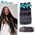 Mink Brazilian Virgin Hair Straight With Closure 3 Bundles Brazilian Straight Hair With Closure Human Hair on sale