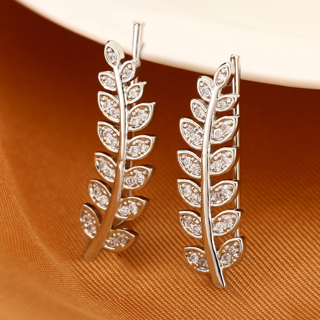 1Pair Leaf Clip Cuffs Earring Brincos Female Charming Silver Wrap Ear Sweep Climber Earrings Punk Women Jewelry Gift золотые серьги по уху