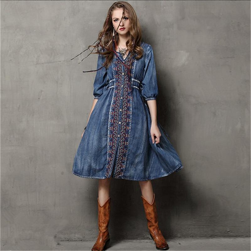 Été-automne vache Vestidos Vintage col en v coton robe demi manches a-ligne tout Match cordon lâche femmes robes de broderie