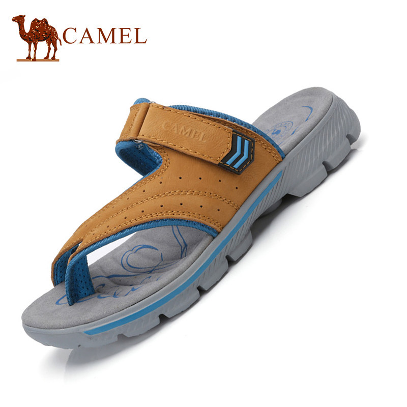 Camel Mens Summer 2018 Hots Flat Clip Toe Flip-Flops Leather Casual Sandals Antiskid Cushioning Flexible Slippers A722396237