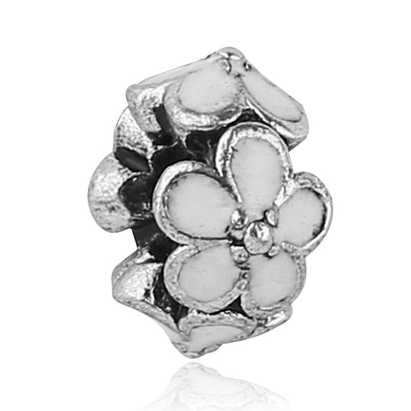 Free Shipping 1PC European White Enamel Flower Charms Silver Plated Bead Fits European Pandora Charm Bracelets