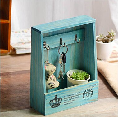New! Vintage Style Creative Mediterranean Hangable Wall Wooden Key Box Sundries Storage Case Wall Rack Home Decoration coloffice 1pc creative 21 8 5 28cm wooden bookends multifunctional storage retro key box wall decoration desktop bookend supplie