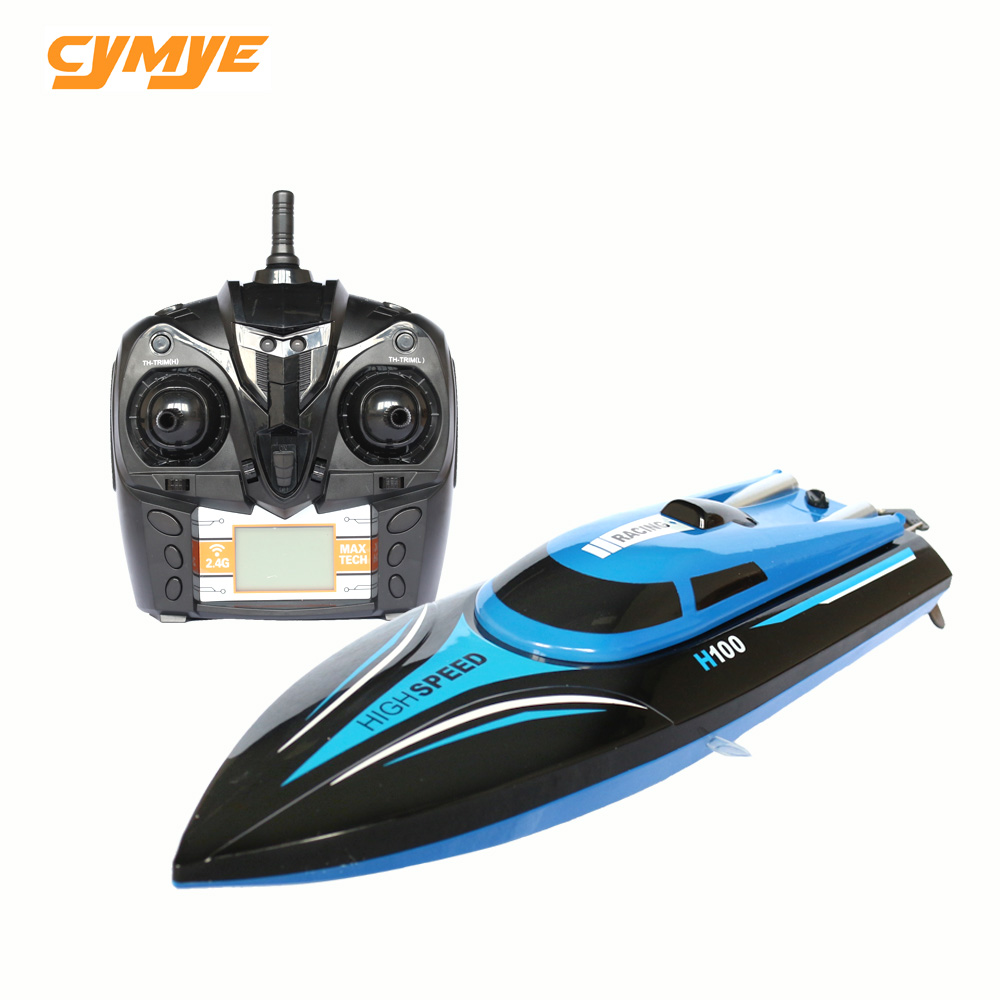 Cymye High Speed RC Boat H100 2.4GHz 4 Channel 30km/h Racing Remote Control Boat with LCD Screen brand new rc boat 2 4ghz 4 channel high speed racing remote control boat with lcd screen