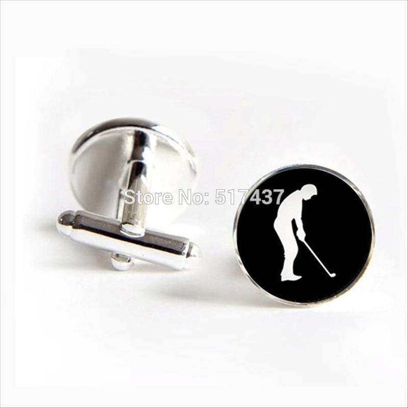 2017 wholesale Golf Player Cufflinks Golf Player Cuff link Jewelry Shirt Cufflinks For Mens Glass Cuff