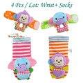 Meias bebê contas pulseira pé meias toys chocalho do bebê jardim proteja pulso pulso animais tarja anel pé sock gift set