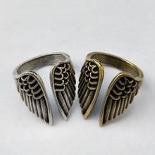 Anillo alas de Ángel ajustable de aleación Vintage plata antigua anillos con forma de plumas Punk para mujeres joyería de moda regalos para hombres y mujeres