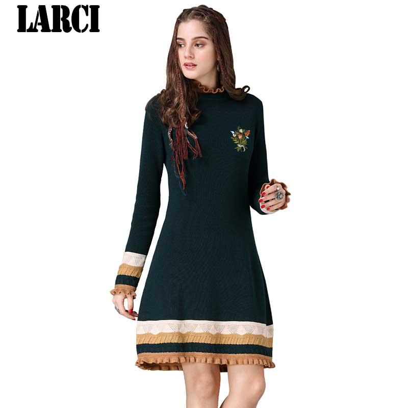 Nouveau Green Coton Vert Femmes Larci Boho Stand Laine 2018 Col Broderie Pa82060 Robes À Fleur Tricoter nIZZqf