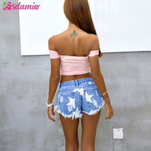 European Style Stars Print Women Shorts Fashion Frayed Tassel Denim Shorts Washed Sexy Low Waist Super Shorts Summer Jean Shorts