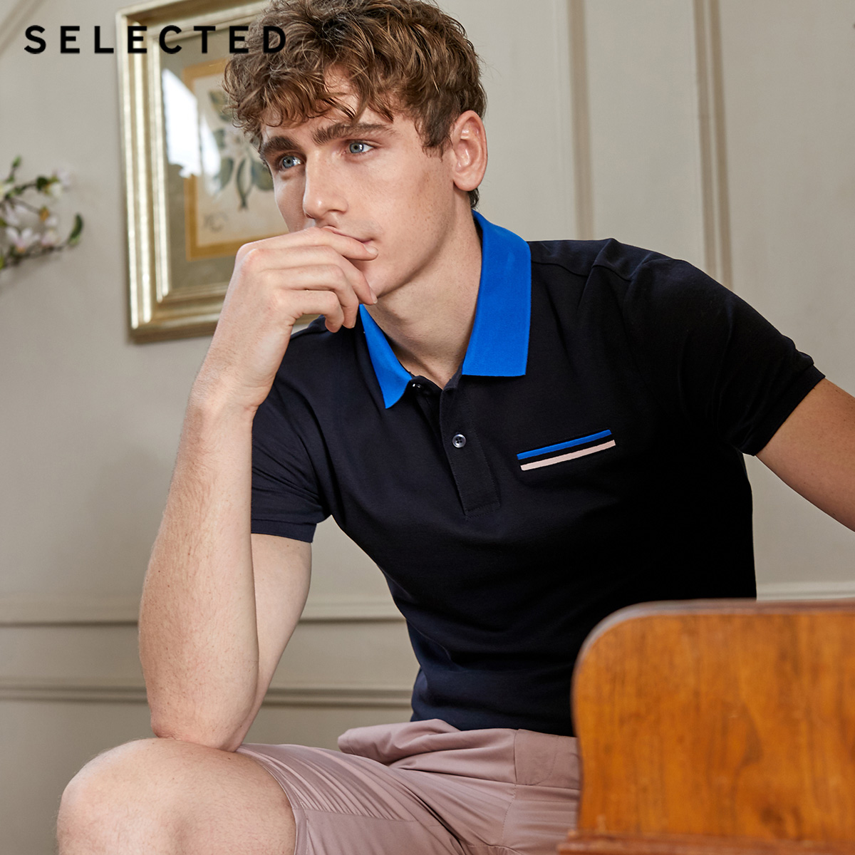 SELECTED Men's Summer 100% Cotton Contrasting Turn-down Collar Short-sleeved Poloshirt S|419106506