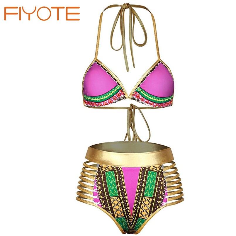 FIYOTE New 2017 Sexy African golden Tribal Metallic Cutout High Waist Swimsuit maillot de bain LC410260