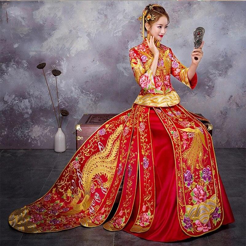Stickerei Phoenix Chinesische Braut Cheonsgam Vintage Orientalischen Frauen Hochzeit Kleid Floral Elegante Qipao Vestidos Ehe Anzug-in Cheongsam aus Neuheiten und Spezialanwendung bei AliExpress - 11.11_Doppel-11Tag der Singles 1