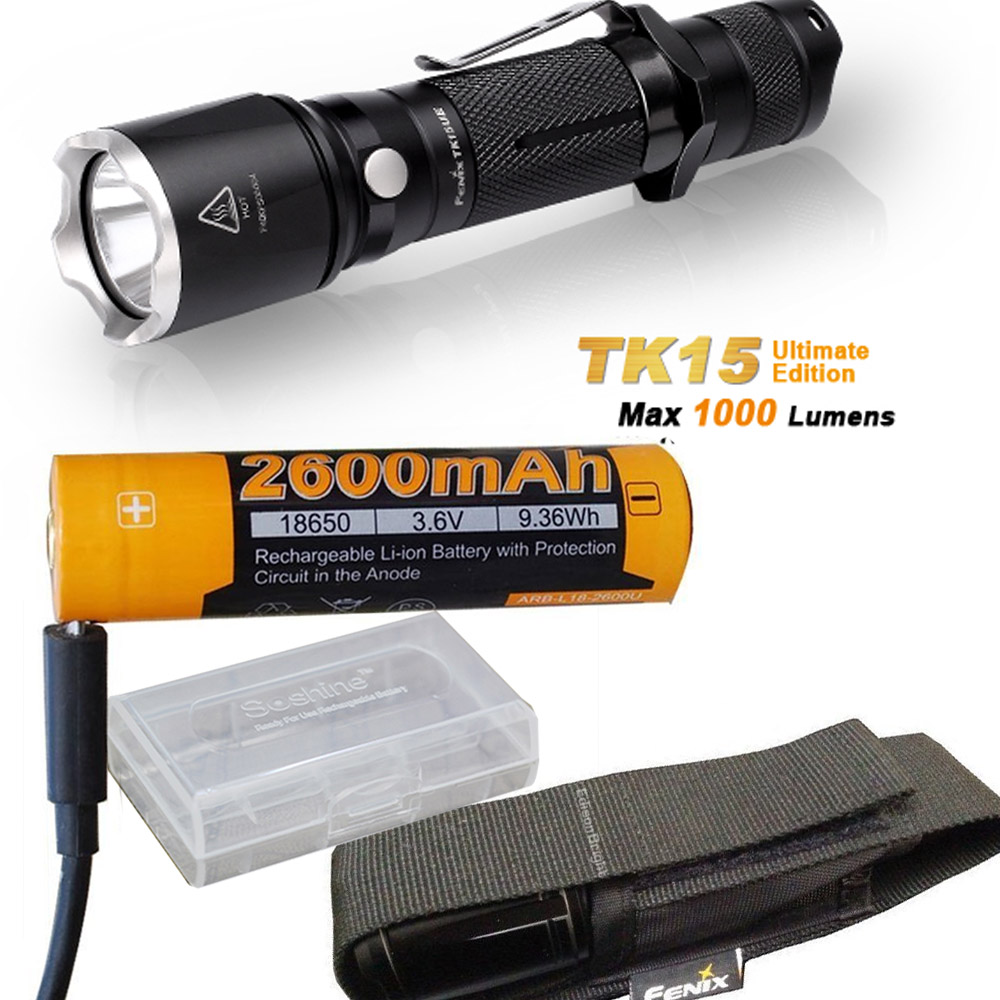 Fenix TK15UE (Ultimate) 2016 CREE LED 1000 Lumen tactical Flashlight with Fenix AB-L18-2600U battery,USB Charge Cable fenix hp25r 1000 lumen headlamp rechargeable led flashlight