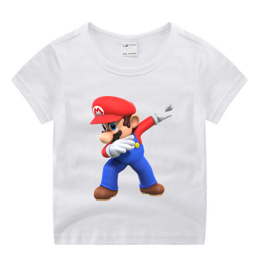 Baby Boy Girl Super Mario Cartoon Cute Print Clothes Children Funny T-shirt Round Neck Cotton Children