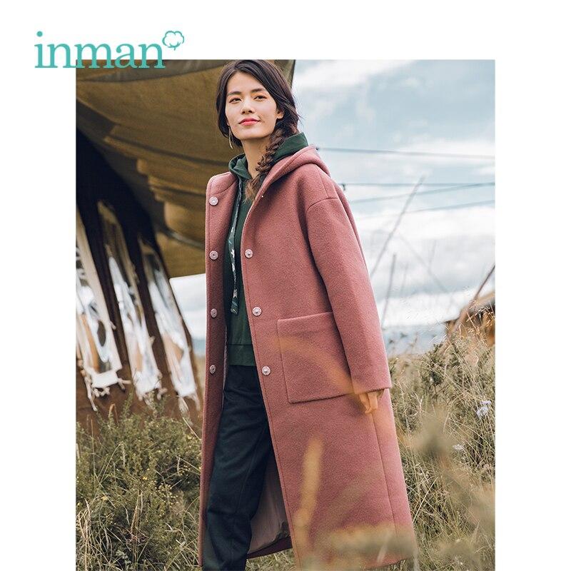 INMAN 2018 Winter New Arrival Hooded Elegant Chick Long Wool Women Outerwear Coat